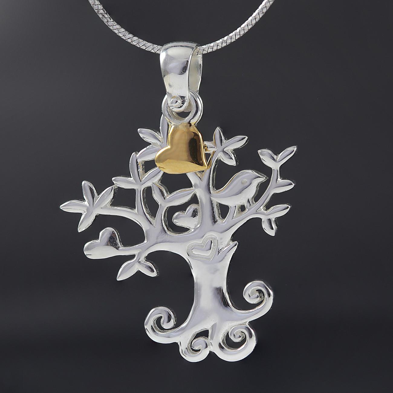 Luxusní přívěsek strom života se srdcem pozlaceným pravým 18k zlatem