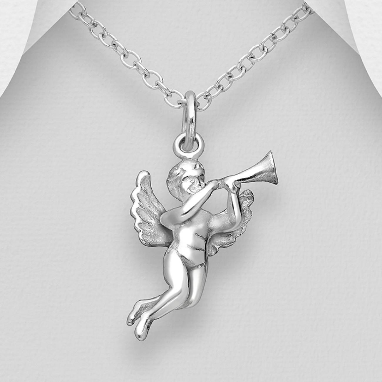 Přívěsek anděl s trubkou stříbro