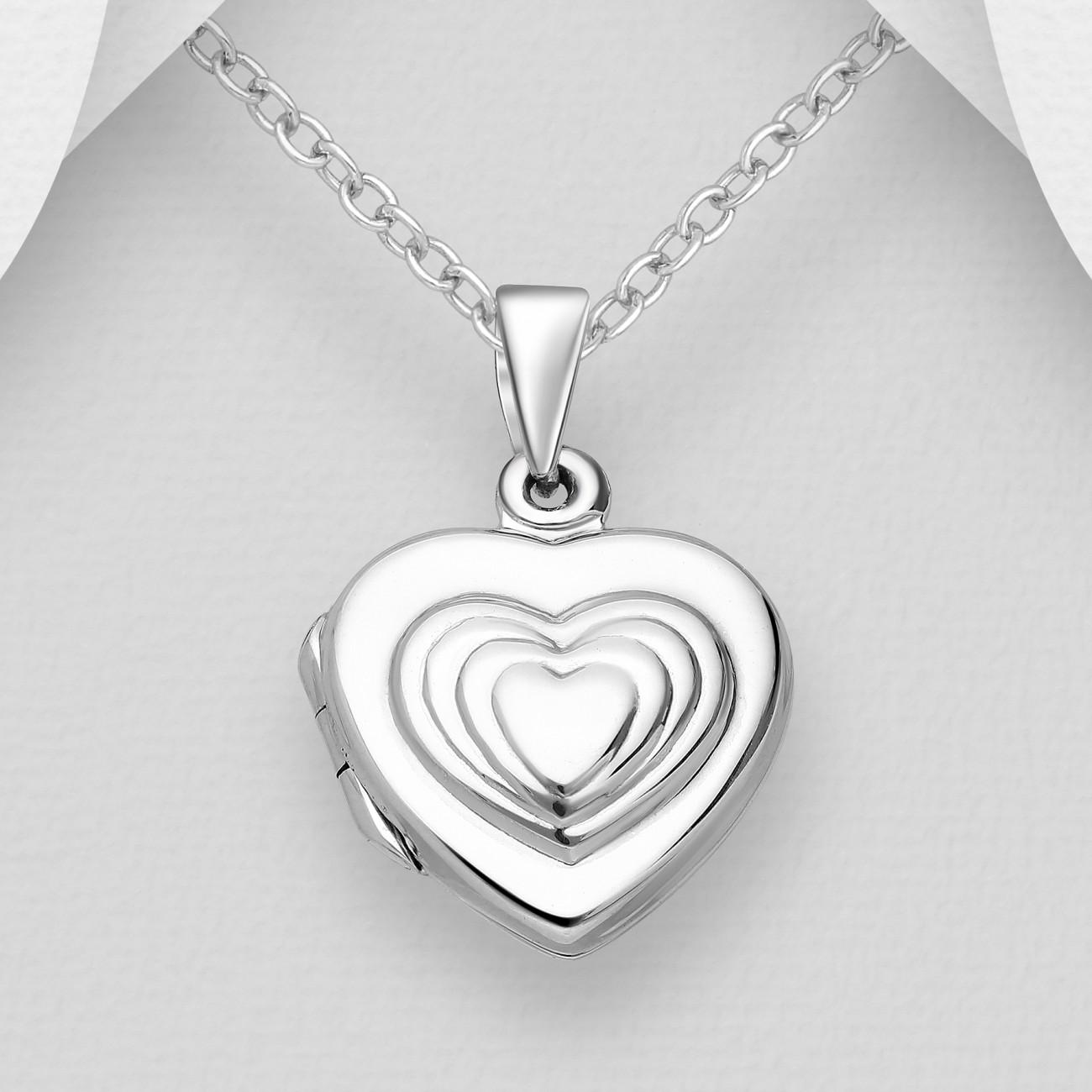 Stříbrný medailonek na fotku srdce Savour