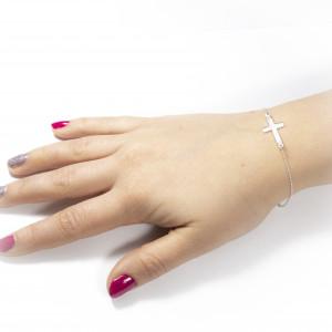Luxusní stříbrný náramek s křížkem Savour cross