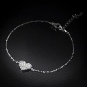 Stříbrný náramek srdce Savour heart stone
