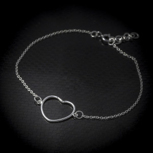Stříbrný náramek srdce Savour heart