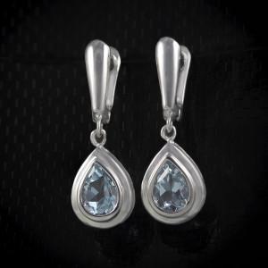 Luxusní, stříbrné, visací náušnice s pravým topazem