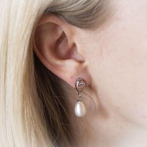 Stříbrné náušnice s perlou visací - Savour deluxe crystal