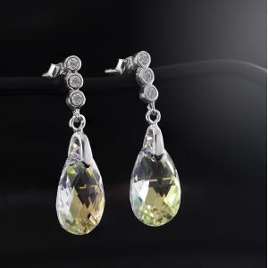 Stříbrné náušnice visací Savour s pravým krystalem Swarovski Aurore Boreale