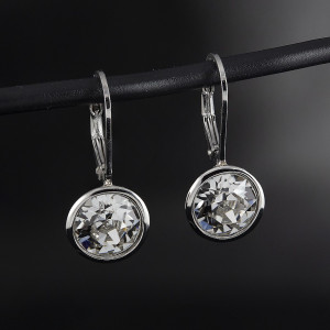 Stříbrné náušnice visací Savour s pravým krystalem Swarovski clear crystal