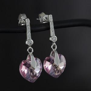 Luxusní, stříbrné náušnice Savour s pravým krystalem Swarovski light rose