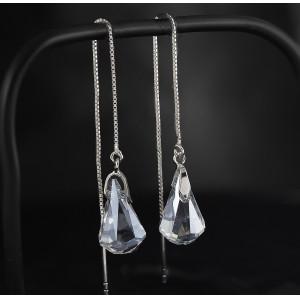 Stříbrné řetízkové náušnice visací s pravým krystalem Swarovski blue shade
