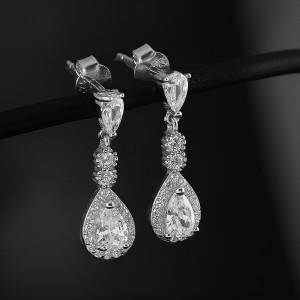 Stříbrné náušnice Savour deluxe wedding crystal