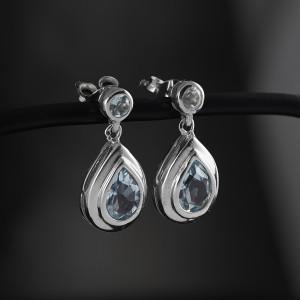 Stříbrné náušnice visací s pravým topazem Savour blue topaz II