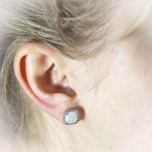Luxusní, stříbrné náušnice Savour opal and crystal