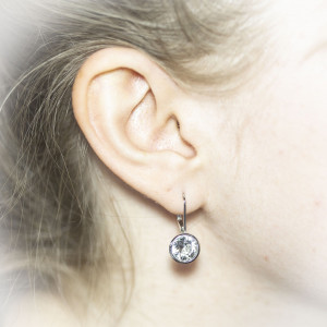 Luxusní, stříbrné náušnice Savour s pravým krystalem Swarovski clear crystal