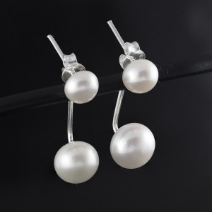 Stříbrné perlové náušnice Savour dvojitá perla