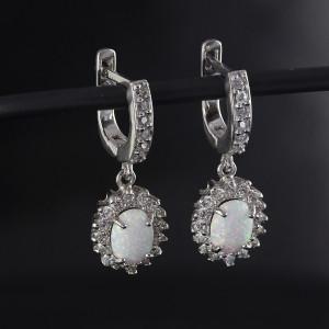 Luxusní, stříbrné náušnice Savour wedding opal