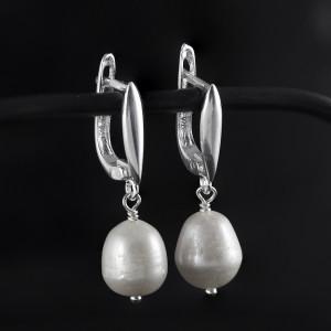 Stříbrné perlové náušnice visací - Savour pearl hook