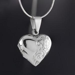Stříbrný medailonek na fotku otevírací srdce Savour natural