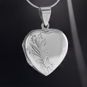 Stříbrný medailonek na krk Savour srdce s květy