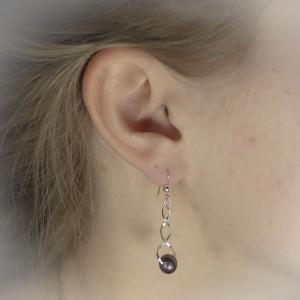 Perlové náušnice Savour spiral pearl purple