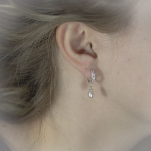Perlové, stříbrné náušnice Savour s kroužky