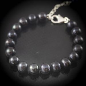 Luxusní, stříbrný, perlový náramek s pravými perlami Savour black