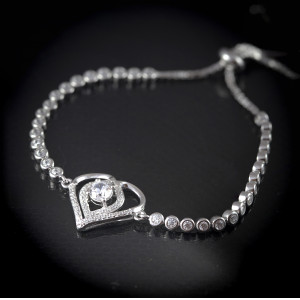 Luxusní, stříbrný náramek srdce Savour princess heart