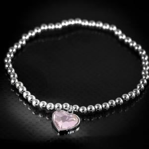 Kuličkový, stříbrný náramek srdce Savour s pravým krystalem Swarovski - light rose