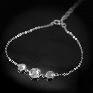 Stříbrný náramek Savour s pravým krystalem Swarovski - crystal clear