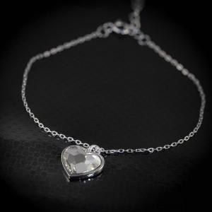 Stříbrný náramek srdce Savour s pravým krystalem Swarovski - clear heart