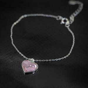 Stříbrný náramek srdce Savour s pravým krystalem Swarovski - light rose heart