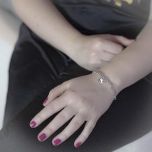 Kuličkový, stříbrný náramek Savour s pravým krystalem Swarovski - clear