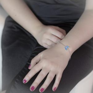 Stříbrný náramek Savour opal buttefly