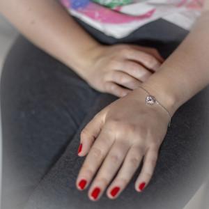 Stříbrný náramek Savour s pravým krystalem Swarovski - clear heart