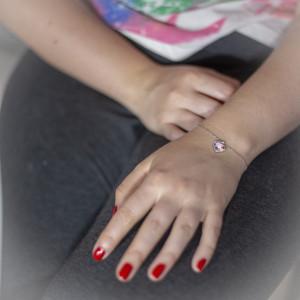 Stříbrný náramek Savour s pravým krystalem Swarovski - light rose heart