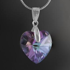 Stříbrný přívěsek s pravým krystalem Swarovski heart vitrail light