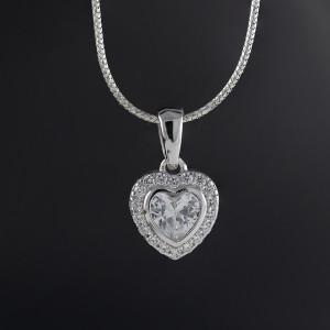 Stříbrný přívěsek srdce Savour princess