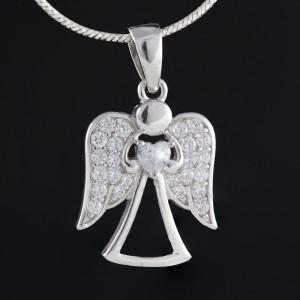 Stříbrný přívěsek anděl Savour angel crystal
