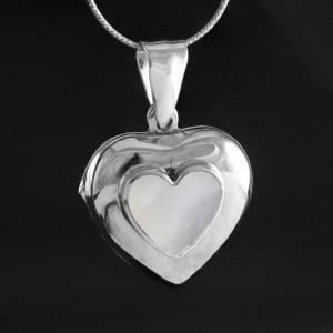 Stříbrný medailonek na fotku Savour srdce s perletí