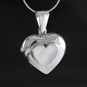 Stříbrný medailonek na fotku Savour s perletí