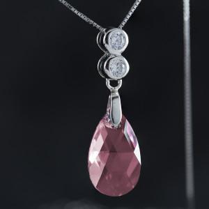 Stříbrný náhrdelník s pravým krystalem Swarovski ovál light rose