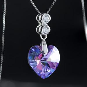 Stříbrný náhrdelník srdce s pravým krystalem Swarovski heart vitrail light