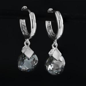 Luxusní, visací náušnice Savour s pravým krystalem Swarovski silver night