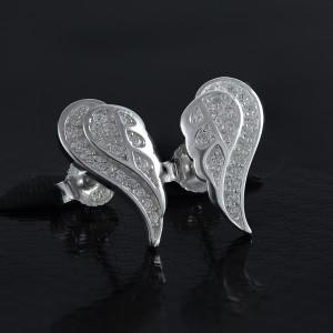 Stříbrné náušnice pecky - andělské křídlo se třpytivými zirkony