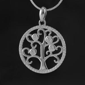 Přívěsek strom života ze stříbra se zirkony