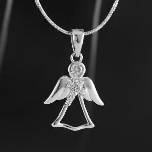Stříbrný přívěsek anděl s křížkem Savour