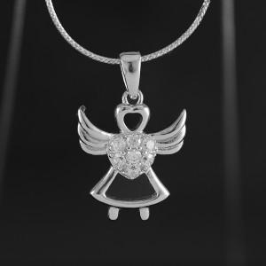 Stříbrný přívěsek anděl se srdíčkem a zirkony