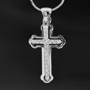 Stříbrný přívěsek křížek v křížku