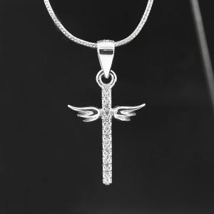 Stříbrný přívěsek křížek  s křídly