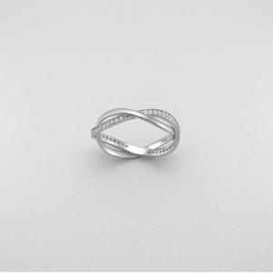 Dvojitý, stříbrný prsten se třpytivými zirkony