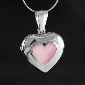 Stříbrný medailonek na fotku Savour srdce s růžovou perletí