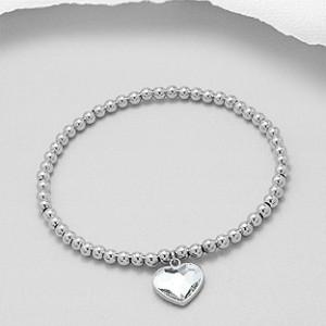 Kuličkový, stříbrný náramek srdce Savour s pravým krystalem Swarovski - clear